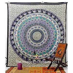 indian-hippie-beach-blanket bohemian-psychedelic-mandala wall-hanging-queen-size-large-84X 90...