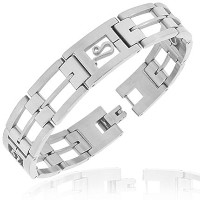 Stainless Steel Silver-Tone Link Chain Zodiac Sign Leo Mens Bracelet with Clasp
