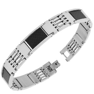 Stainless Steel Simulated Carbon Fiber Two-Tone Link Chain Mens Bracelet