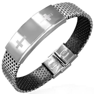 Stainless Steel Black Rubber Silicone Silver-Tone Latin Cross Religious Mens Bracelet
