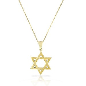 925 Sterling Silver Yellow Gold-Tone Classic Unisex Star of David Pendant Necklace