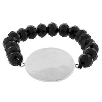 Stainless Steel Black Beads Round Hammered Finish Silver-Tone Beaded Stretch Bracelet