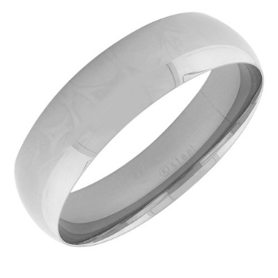 Stainless Steel Silver-Tone Classic Wide Bangle Bracelet