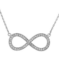 925 Sterling Silver Infinity CZ Womens Pendant Necklace with Chain