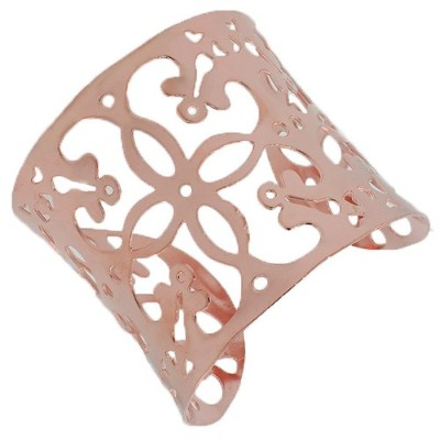 Stainless Steel Rose Gold-Tone Floral Design Open End Wide Cuff Bangle Bracelet