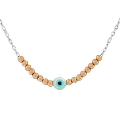 925 Sterling Silver Rose Gold-Tone Evil Eye Pendant Necklace with Chain