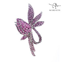 Loches Lynn Pink Tulip & Ribbon Fashion Brooch Pendant STELLUX Elements AUSTRIAN CRYSTALS (B-8988G)