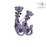 Loches Lynn Two Purple Persian Cat Cuddle Fashion Brooch Pendant STELLUX Elements AUSTRIAN CRYSTALS...
