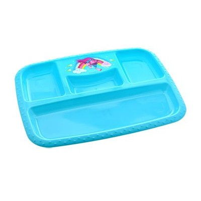 (Blue-Sectioned Tray) - Dreamworks Trolls Dinnerware, Plastic (Blue-Sectioned Tray)