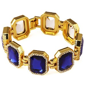 MCSAYS ヒップホップ ファッション hiphop ブレスレット 18KGold Plated Iced Out Blue Gold Finish Bracelet Ruby Hip Hop ...