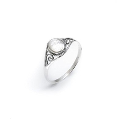 (L 1/2) - Silverly Women's .925 Sterling Silver White Mother Of Pearl Shell Cute Ring