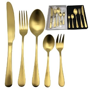 kingwareホームサテン20-piece Flatware Set , Service for 4人 ゴールド COMINHKG110315