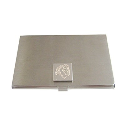 Silver Toned Etched Side Facingライオンヘッドビジネスカードホルダー