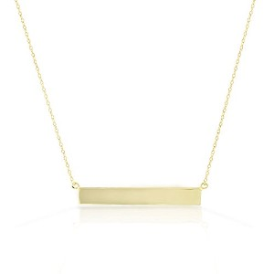 925 Sterling Silver Yellow Gold-Tone Polished Sideways Bar Pendant Necklace 1.40""