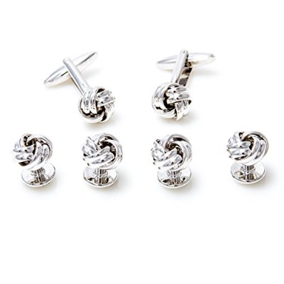 mrcuff Knot Cufflinks and Studs Set in a Presentationギフトボックス&ポリッシュクロス