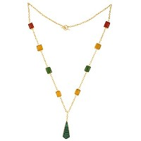 Swasti JewelsロングチェーンネックレスLarriot withレッドイエローグリーンMonalisa Stones for Women