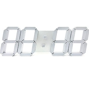 Lunaris 3D LED Wall Clock Big Size 壁掛け時計 [海外並行輸入品] (Silver Light)