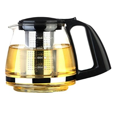 Zhhlinyuan 良質 Heat Resistant Clear Glass Teapot 750 ml with Stainless Steel Infuser