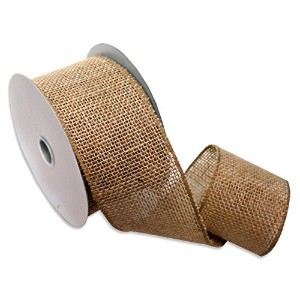 High Quality Burlap Wired Ribbon, 2-1/2-Inch by 10-Yard Spool, Natural