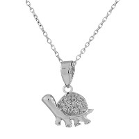 925 Sterling Silver Turtle CZ Womens Pendant Necklace with Chain