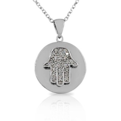 925 Sterling Silver White CZ Round Circle Hamsa Evil Eye Womens Pendant Necklace