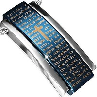 Stainless Steel Silver-Tone Blue Cross Lord's Prayer in English Pendant Necklace