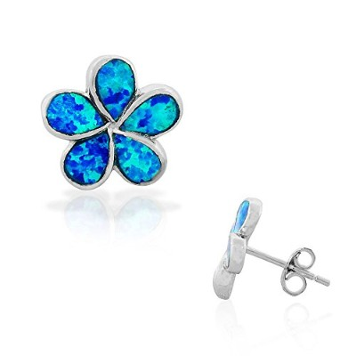 925 Sterling Silver Blue Turquoise-Tone Simulated Opal Flower Stud Earrings