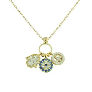 925 Sterling Silver Yellow Gold-Tone Hamsa Evil Eye Peace Chain Pendant Necklace