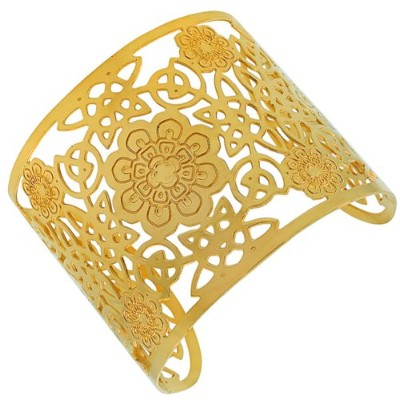 Stainless Steel Yellow Gold-Tone Cut-Out Design Wide Open End Cuff Bangle Bracelet