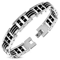 Stainless Steel Black Rubber Silicone Silver-Tone Link Chain Mens Bracelet with Clasp