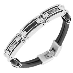 Stainless Steel Black Rubber Silicone Black Silver-Tone Men's Bracelet