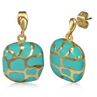 Stainless Steel Blue Yellow Gold-Tone Square Drop Dangle Stud Earrings