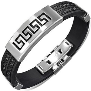 Stainless Steel Black Rubber Silicone Silver-Tone Greek Key Mens Bracelet with Clasp