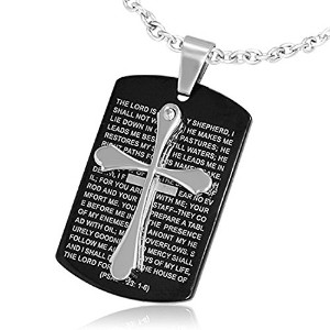 Stainless Steel Black Silver-Tone Cross Crucifix Prayer in English Pendant Necklace