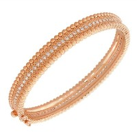 Fashion Alloy Rose Gold-Tone White CZ Filigree Bangle Bracelet