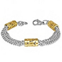 Stainless Steel Two-Tone Multi-Chain Womens Link Bracelet