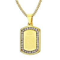 "PF : ""Prayer Necklaces & Pendants Gold Plated Necklace Men Jewelry Free Chain 24"""""""