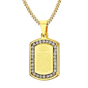 """PF : """"Prayer Necklaces & Pendants Gold Plated Necklace Men Jewelry Free Chain 24"""""""""""""""