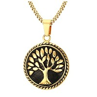"""PF : """"Tree of Life Necklace Men Jewelry Gold Plated Stainless Steel Prayer Necklaces Free 24""""""""..."""