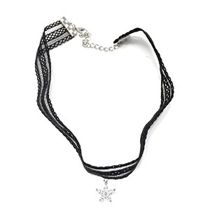 CZ フラワー レース チョーカー ネックレス (CZ Flower Lace Choker Necklace)