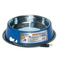 Farm Innovators Model SB-40 3-Quart Heated Pet Bowl with Stainless Steel Bowl Insert, Blue, 40-Watt...