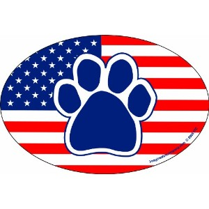 Imagine This 4-Inch by 6-Inch Car Magnet Oval, Paw American Flag by Imagine This