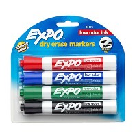 Quartet Expo Low Odor Chisel Tip Dry Erase Markers, 4 Colored Markers #80174 (3-Pack) (並行輸入品)