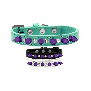 Crystal and Purple Spikes Dog Collar Black Size 16