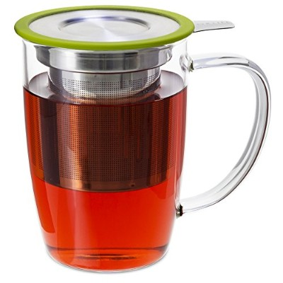 FORLIFE NewLeaf Glass Tea 16-Ounce Mug with Infuser and Lid, Lime by FORLIFE