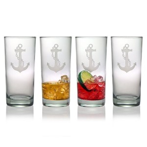 Susquehanna Glass Nautical Anchor Sand Etched Hiball Glasses, Set of 4, 15 ounces by Susquehanna...