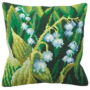 "Muguet Gauche Pillow Cross Stitch Kit-15-3/4""X15-3/4"" (並行輸入品)"