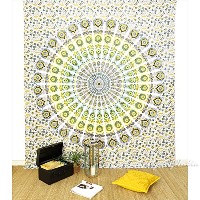 EYES OF INDIA - QUEEN WHITE YELLOW HIPPIE ELEPHANT MANDALA TAPESTRY BEDSPREAD Beach Dorm Decor by...