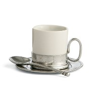 Arte Italica Tuscan Espresso Cup & Saucer withスプーン、ホワイトby Arte Italica