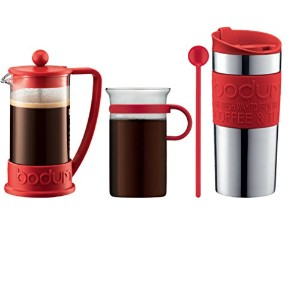 Bodum - Coffee Set - Coffee Press, Travel Mug, Glass Mug, Spoon - Red